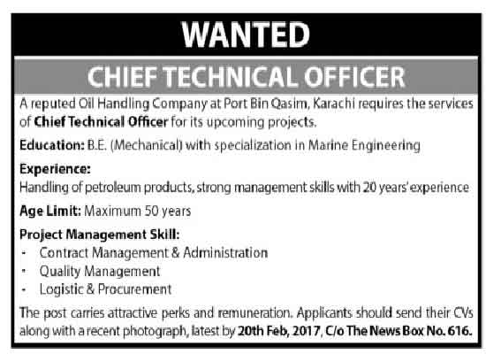 Oil Handling Company Karachi Chief Technical Officer Jobs 15 Feb 2017