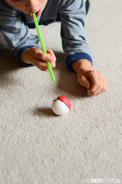 Blowing Pokeballs with straws - a fun oral motor sensory activity for kids from And Next Comes L