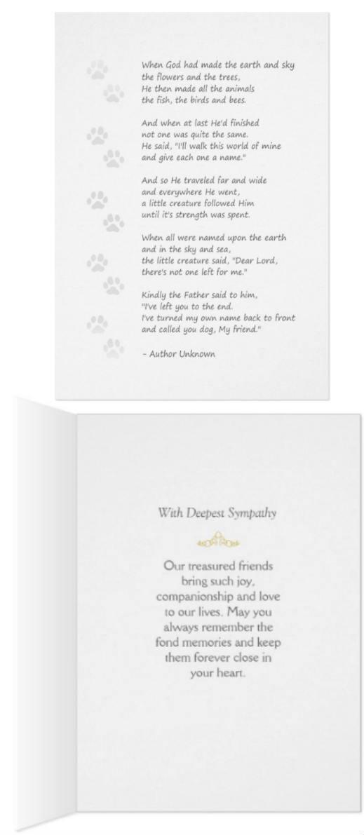 dog poem pawprints card front and back by Julie Alvarez