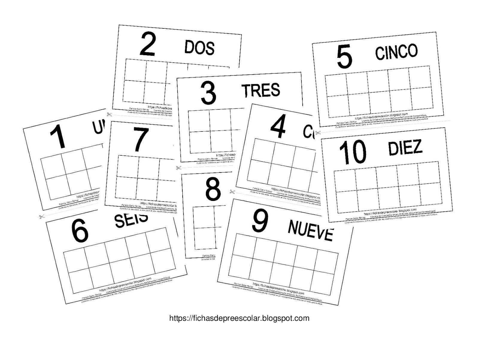 FICHAS DE EDUCACIÓN PREESCOLAR: TARJETAS DE CONTEO DEL 1 AL 10