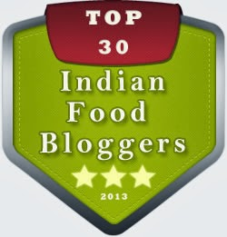 Featured in Top 30 Indian Food Blogs