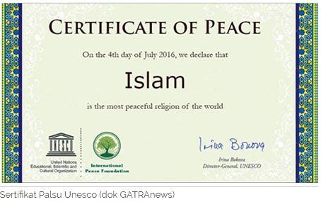 Hoax, Sertifikat Islam Damai dari Unesco
