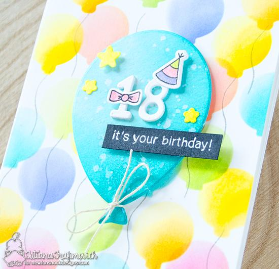 Personalized Birthday Card by Tatiana Trafimovich | Balloon Shaker Die Set, Fabulous Frenchies Stamp Set and Essential Alphabet die set by Newton's Nook Designs #newtonsnook #handmade
