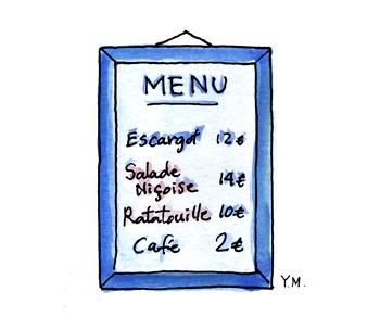 menu by Yukié Matsushita
