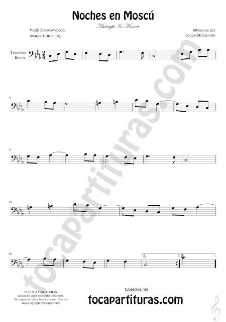 Trombón, Elicón y Bombardino Partitura de Noches en Moscú Sheet Music for Trombone Euphonium Bass clef