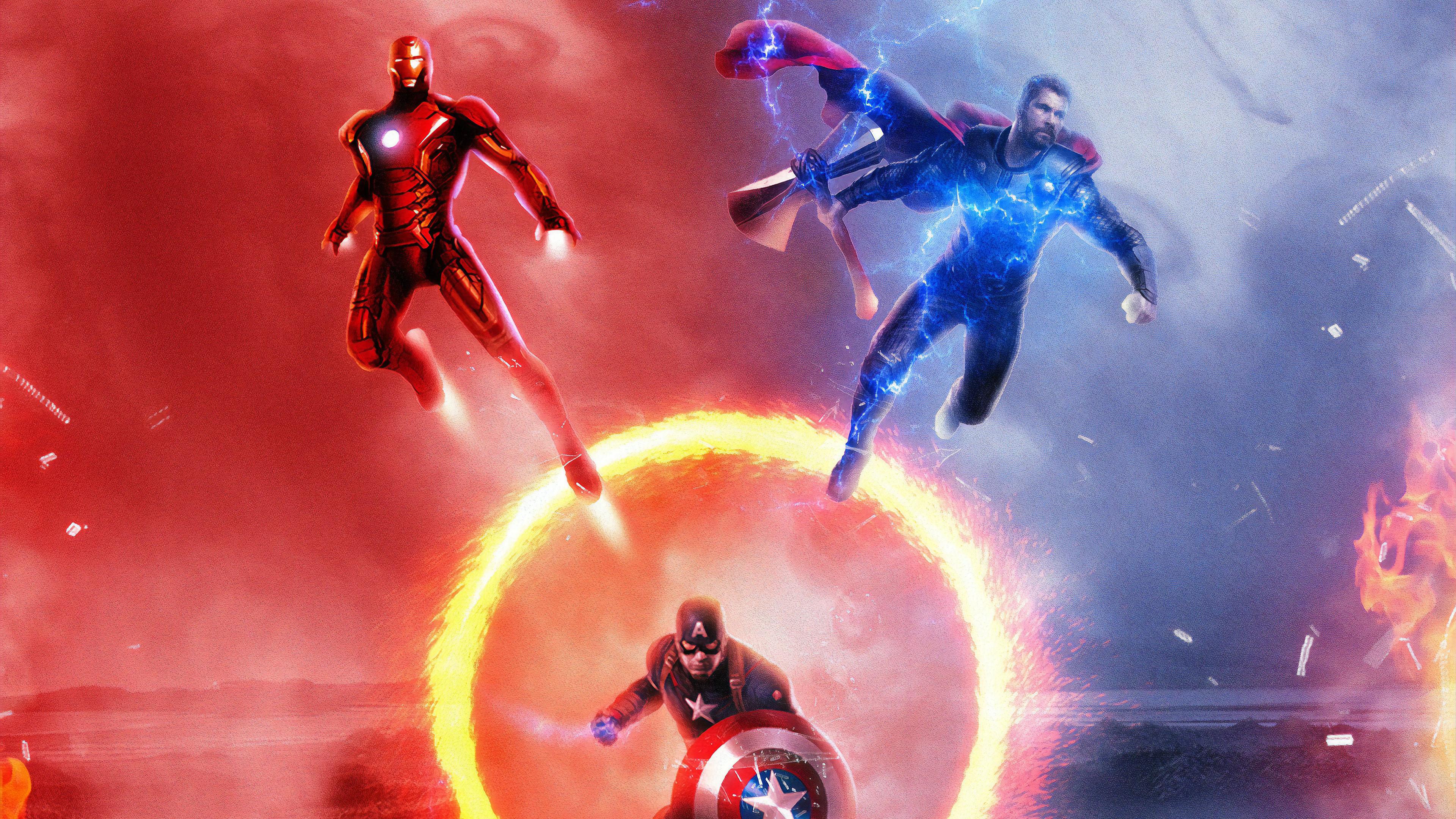 Avengers Endgame Iron Man Thor Captain America 8k Wallpaper 168