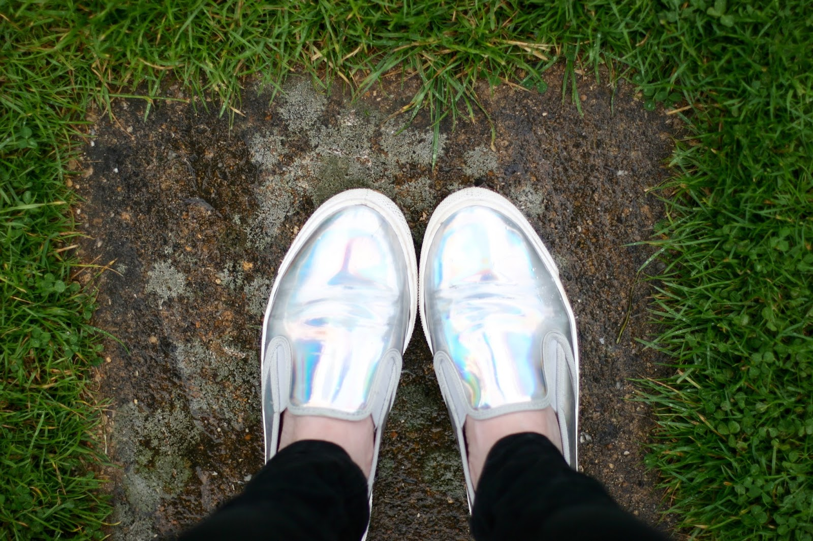 Office silver holographic shoes