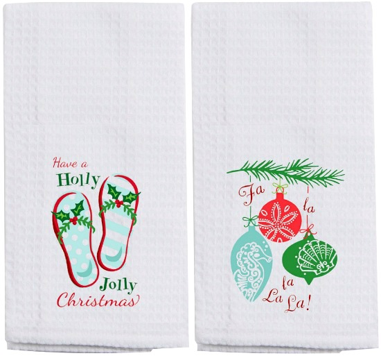 Beach Christmas Towels with Saying