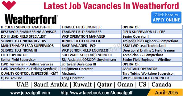 Job Vacancies In Weatherford Uae Saudi Arabia Kuwait