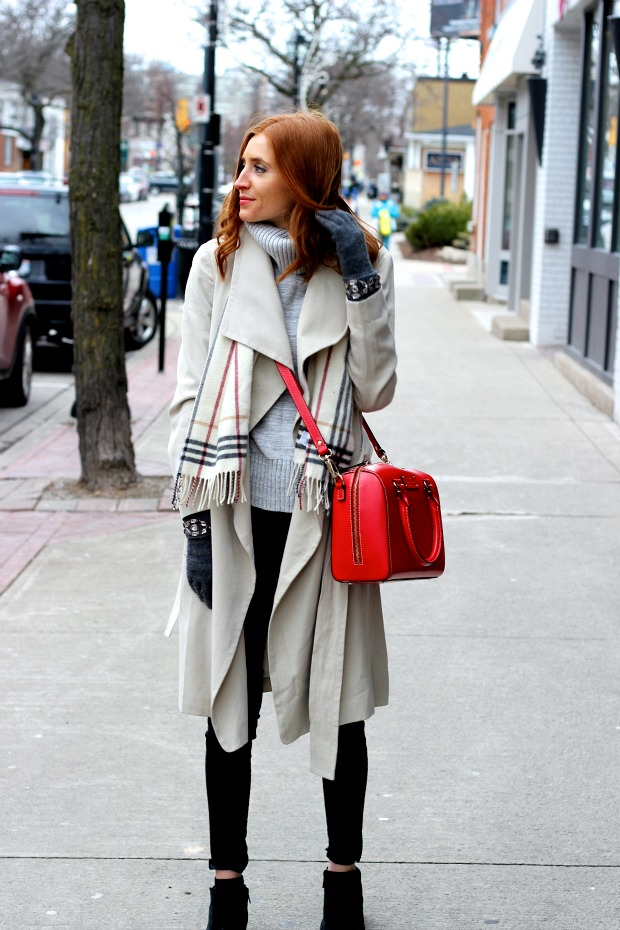 winter outfit- pop of red, beige trench