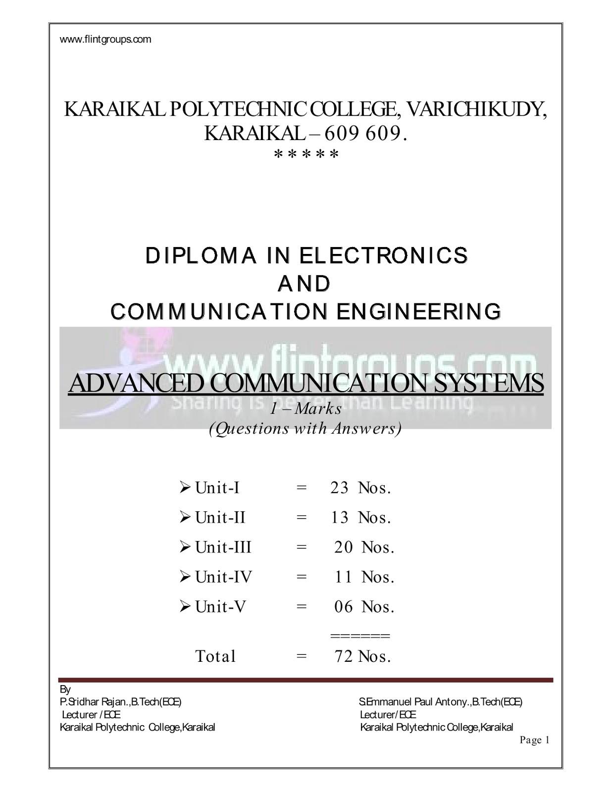 Advanced Communication System : Tamil Nadu Polytechnic One