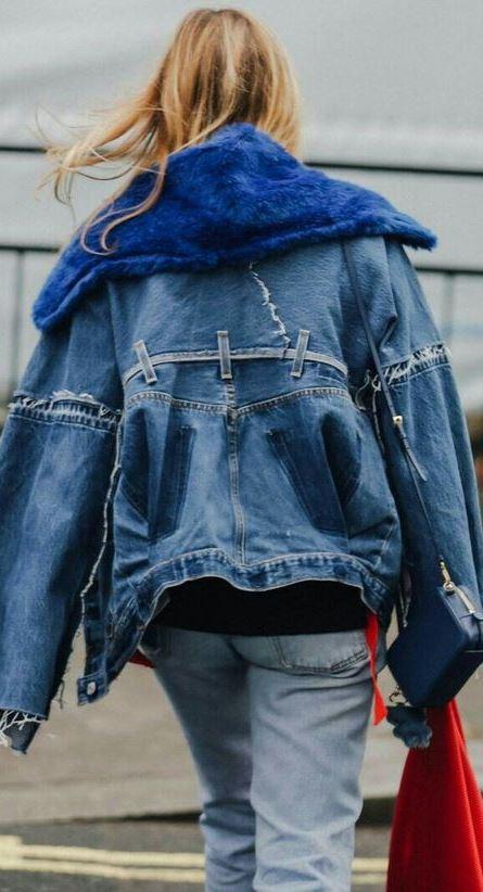 double denim outfit_jacket + bag + jeans + sweatshirt