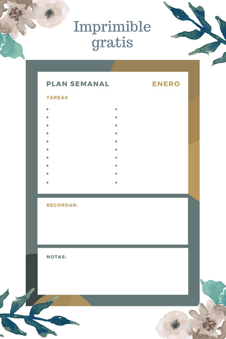 Planning semanal bonito para bloggers gratis, plan diario, descarga imprimible