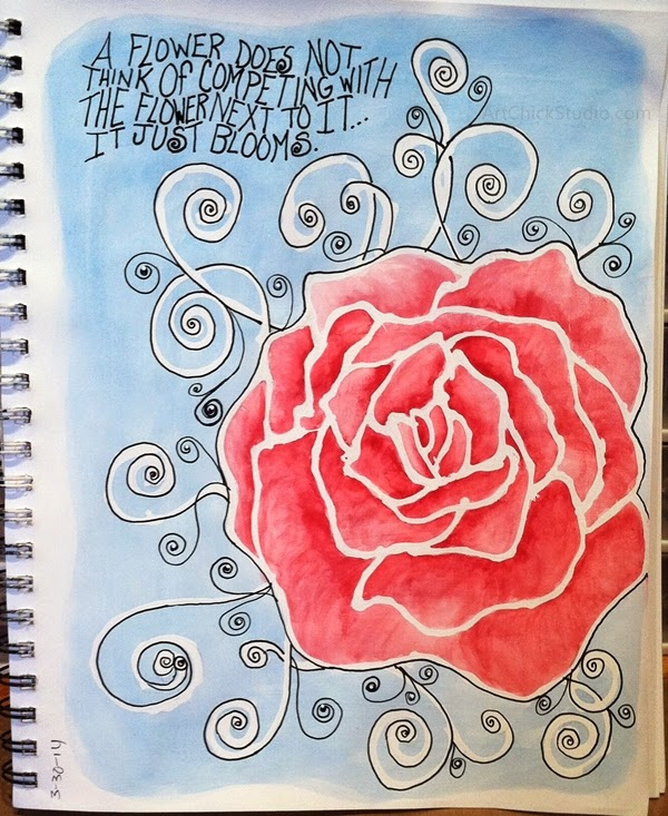 A Flower Blooms Art Journal Page