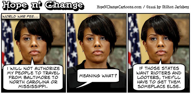 obama, obama jokes, political, humor, cartoon, conservative, hope n' change, hope and change, stilton jarlsberg, stephanie rawlings-blake, baltimore, bathrooms, restrooms, transgender
