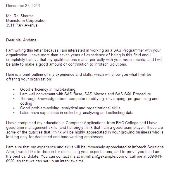 Cover Letter For SAS Analyst  Programmer