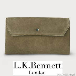Kate Middleton carried L.K. Bennett Dora Khaki suede clutch