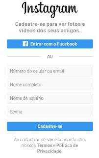 Fazer um Instagram usando o Facebook