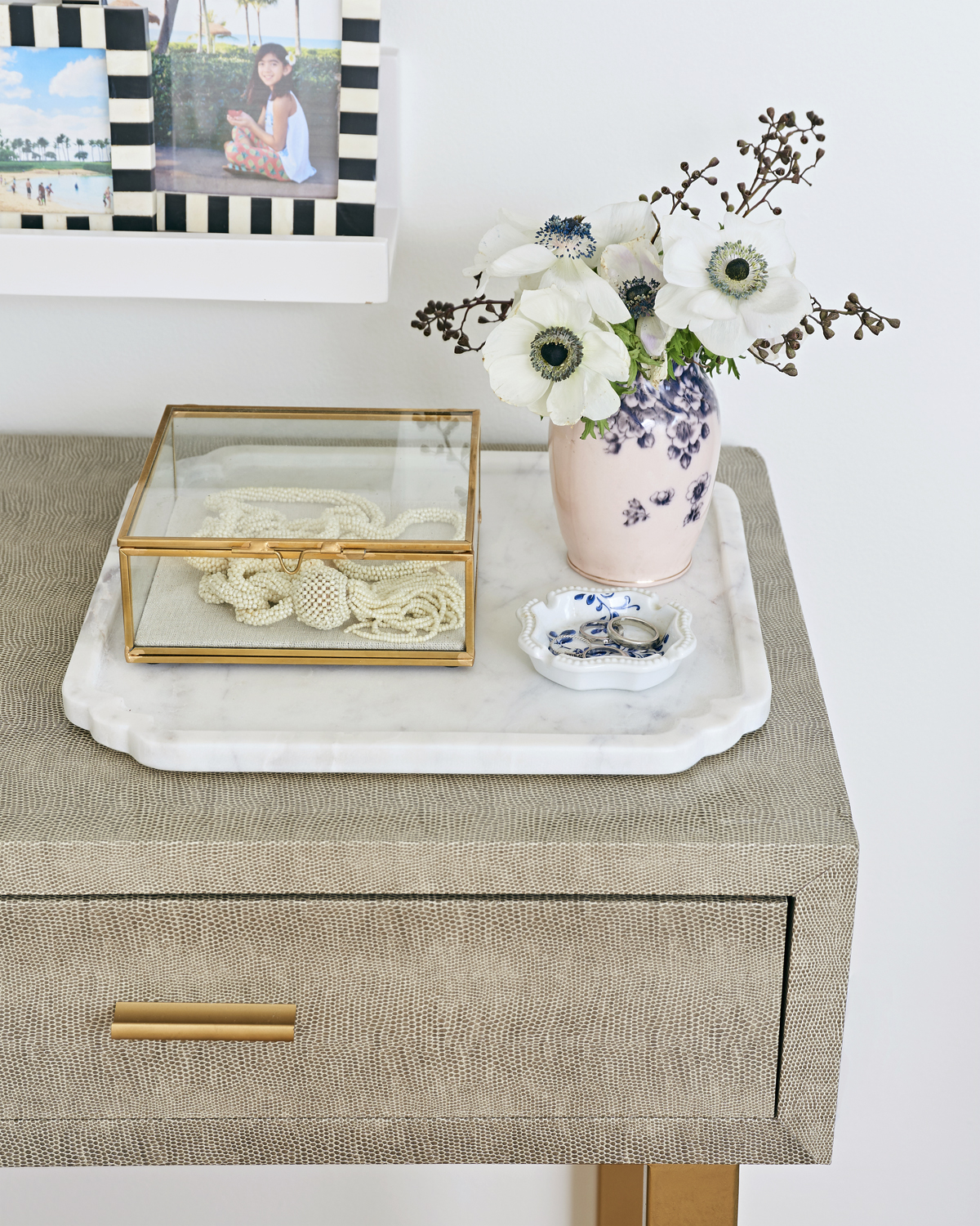 calm neutral master bedroom, Rambling Renovators, Rainsford company scalloped marble tray