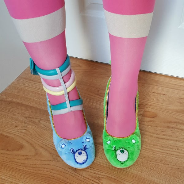 grumpy bear blue and good luck bear green fur court shoes with pink tights