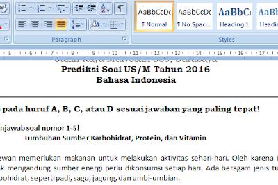 Soal Prediksi Bahasa Indonesia US SD/MI 2016