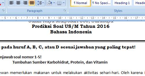 Soal Prediksi Bahasa Indonesia Us Sd Mi 2016