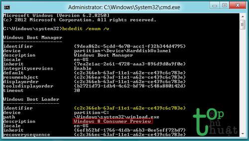 Nhập dòng lệnh BCD là bcdedit/num/v và ghi lại chỉ số dòng indentifier và description.