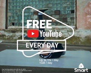Smart FREE YouTube – up to 1 hour / 1GB Data per Day on select Promos