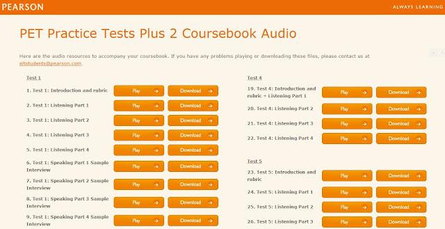 Cambridge PET Practice Tests Plus 2 Coursebook Audio