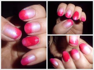 manicura rosa degradado