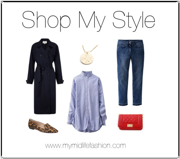 My Midlife Fashion, Shop My Style, East Tencel trench coat, john lewis weekend pony slip on loafers, harry rocks entwined initials pendant, uniqlo Ines stand collar long sleeve shirt, boden cropped jeans, ebay leather quilted handbag
