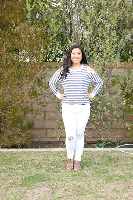 Cold Shoulder Sweater and white jeans
