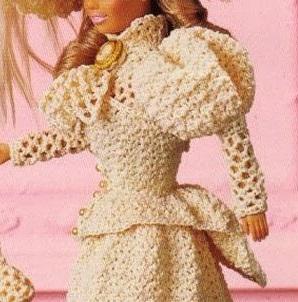 Roupa de Época Blusa de Crochê (Frente) em Crochê Para bonecas