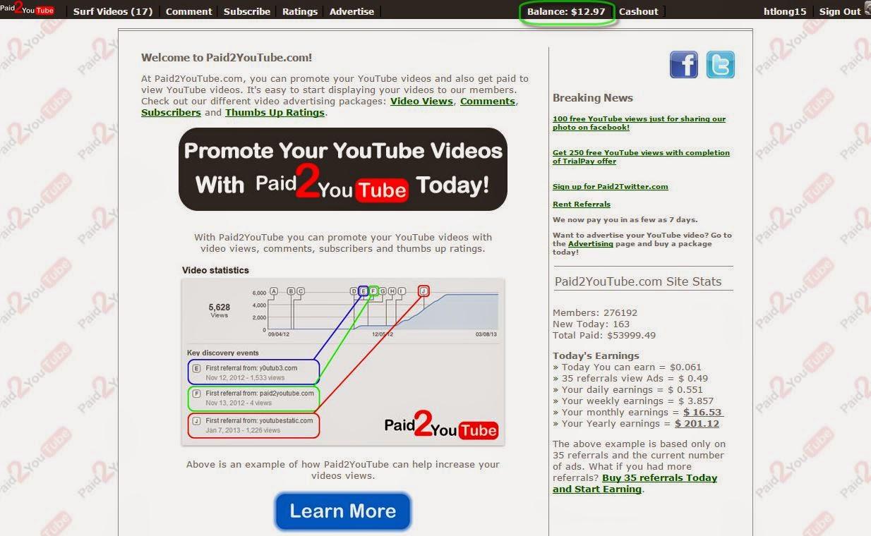 Kiếm tiền với Paid2youTube