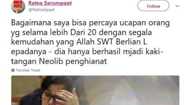Utang Jatuh Tempo 409 T, Ratna Sebut Sri Mulyani Kaki Tangan Neolib Penghianat
