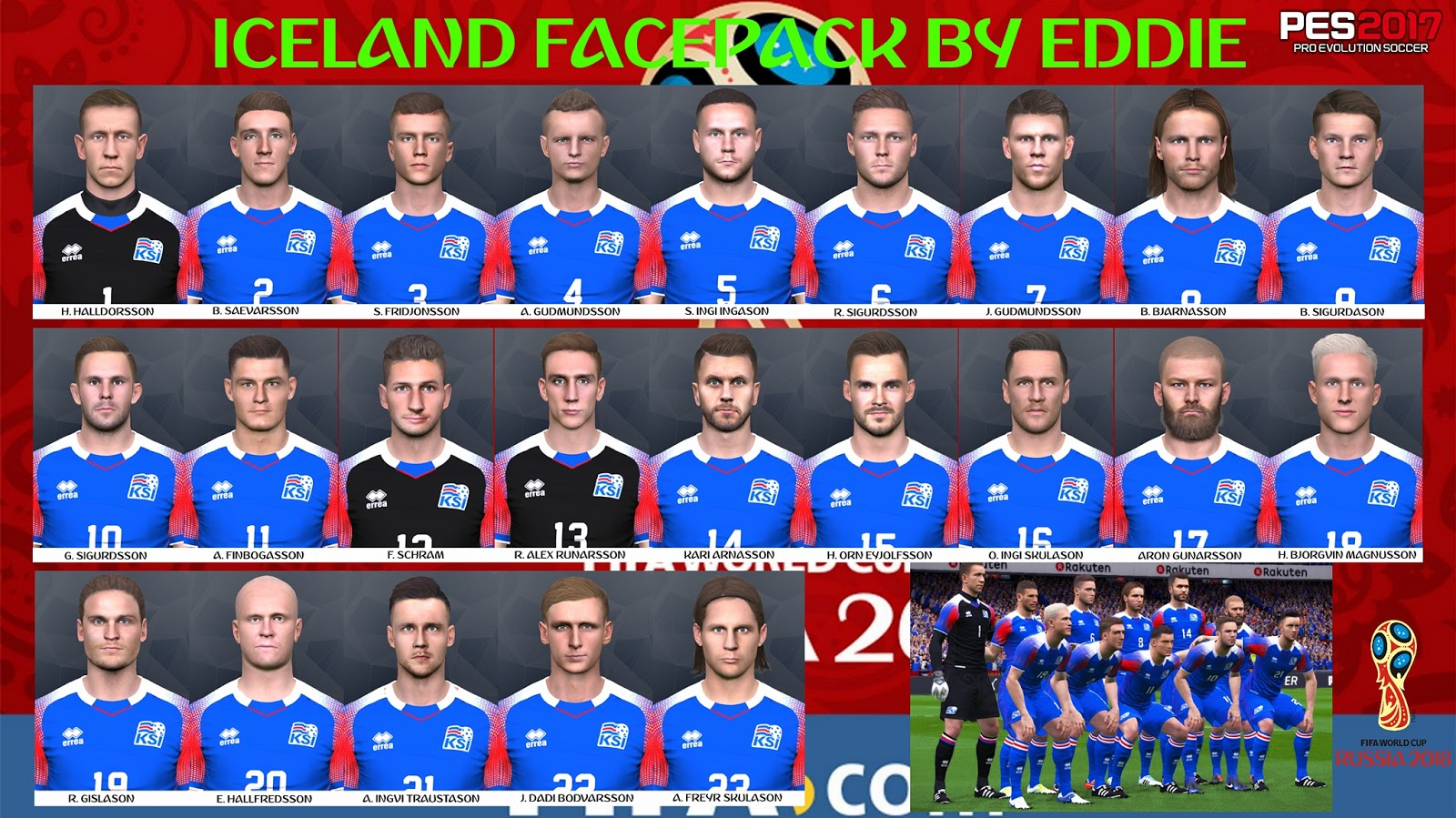 PES 2017 iceland full squad facepack by Eddie Facemakers