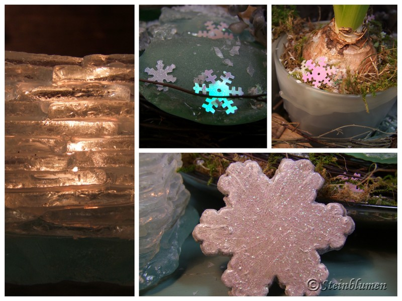 Eiskristalle Tischdeko