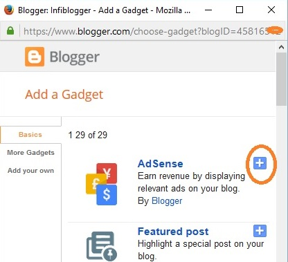 Blogger add a gadget widget