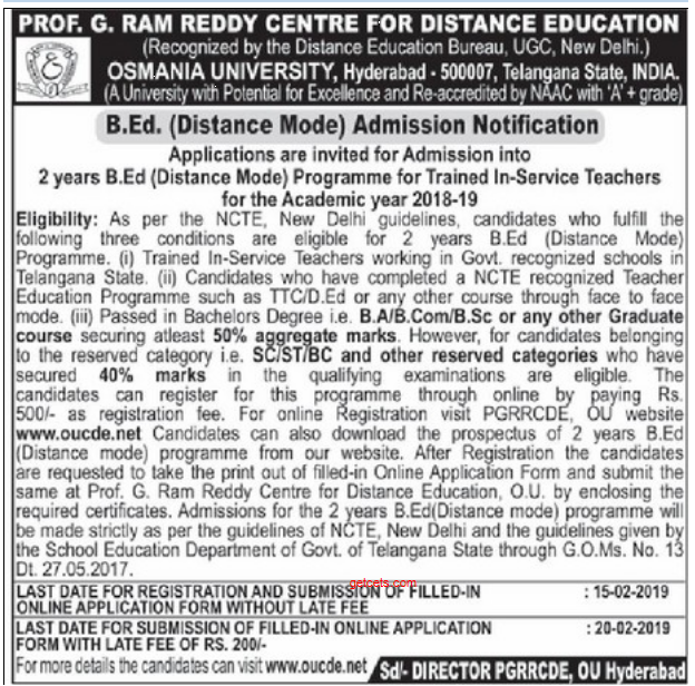 OU Bed distance education 2019 admission notification