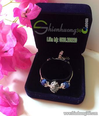 Vòng tay đá quý sapphia xanh kyanite bạc Thái 925