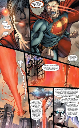 superman's eyes glowing red because of anger