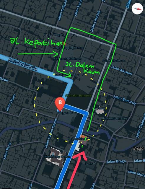 peta, rute, jalan dari cileunyi ke alun-alun bandung, mesjid agung raya bandung, pasar baru, jalan dalem kaum, jalan oto iskandardinata, jaln kepatihan, gedung merdeka bandung
