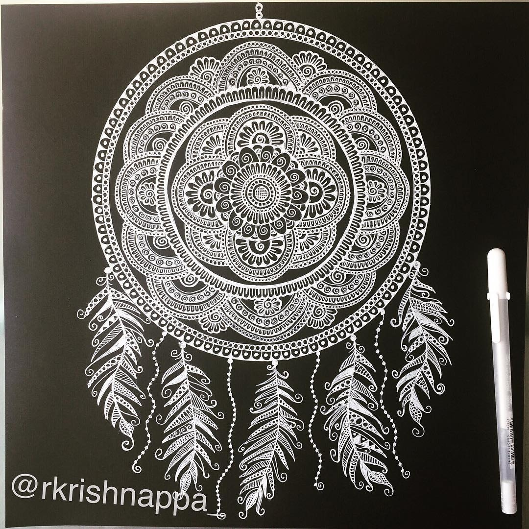 09-Dreamcatcher-Rashmi-Krishnappa-Calm-and-Serenity-in-Balanced-Pen-drawings-www-designstack-co