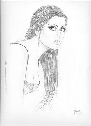 Beautiful girl hand drawing