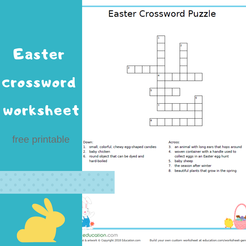 graphic about Easter Crossword Puzzles Printable called Easter crossword worksheet - totally free printable Maintaining it Correct