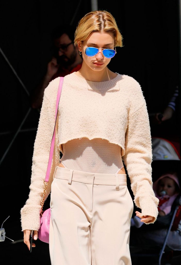 Hailey Baldwin Wears a Midriff-Bearing Outfit in New York