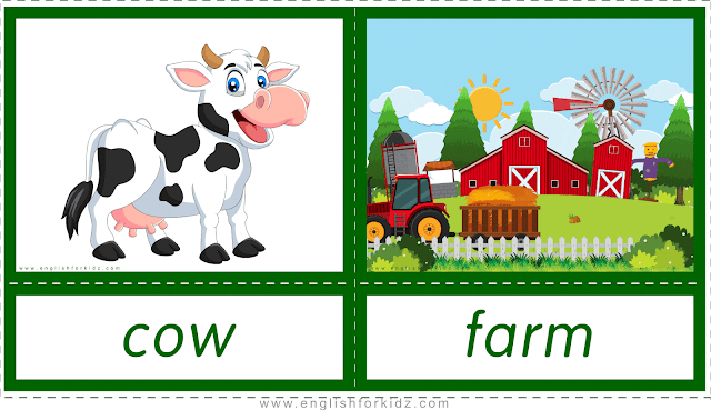 Animal homes and habitats -- cow - farm -- printable flashcards for English learners