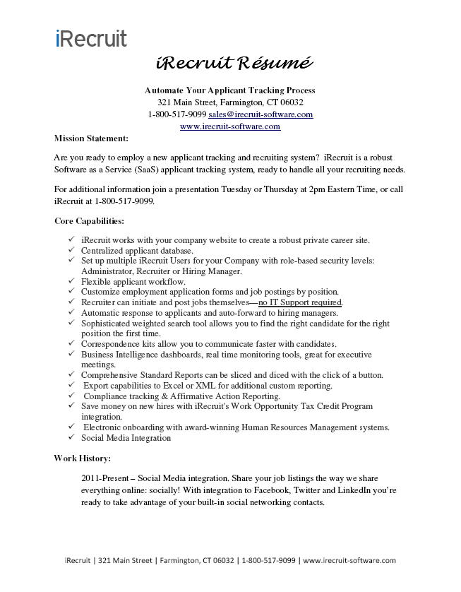 Have You Seen My Resume Irecruit Applicant Tracking Onboarding