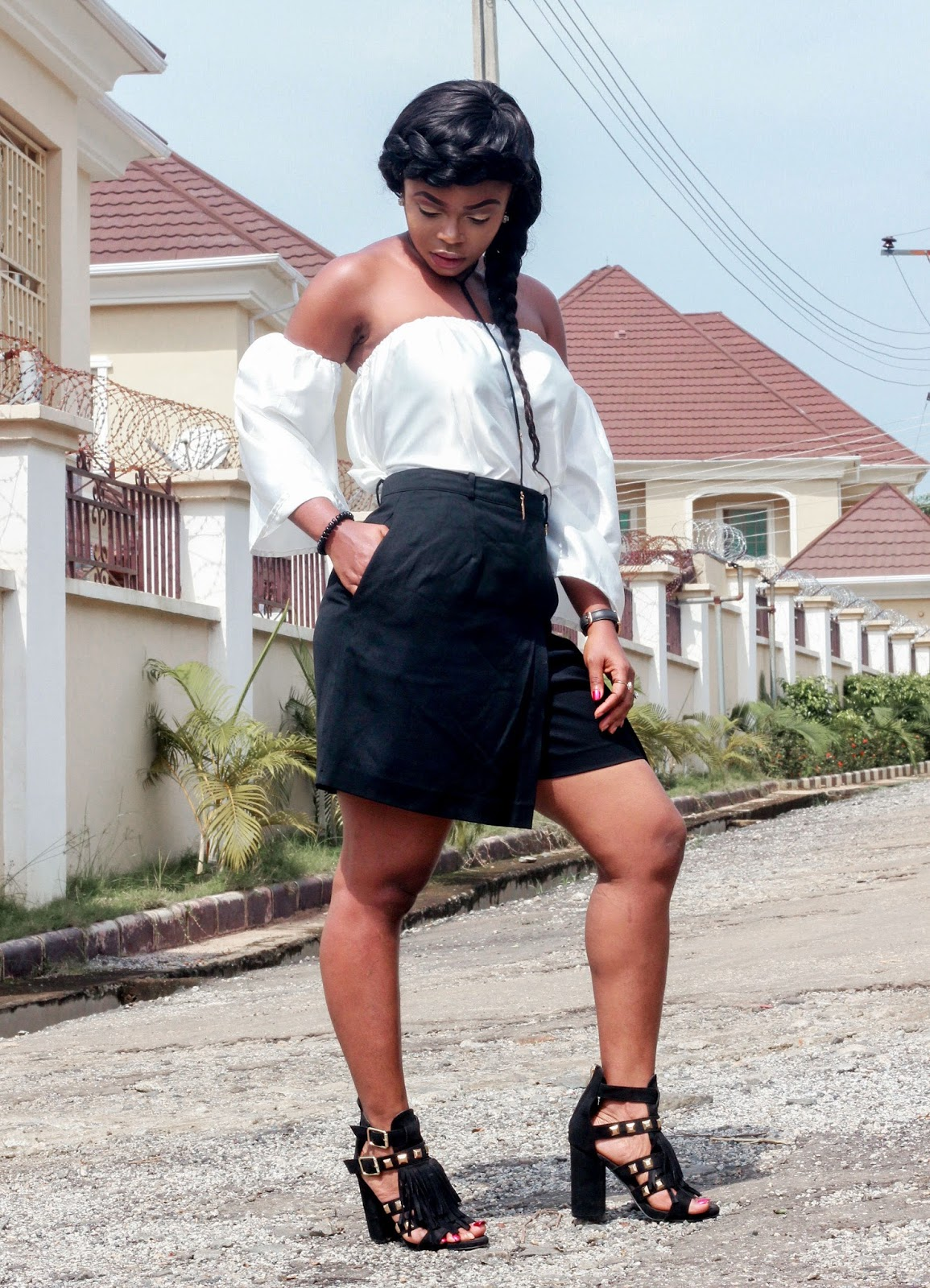 COLD SHOULDER TOP- DIY Cold shoulder top with Jumia sandals