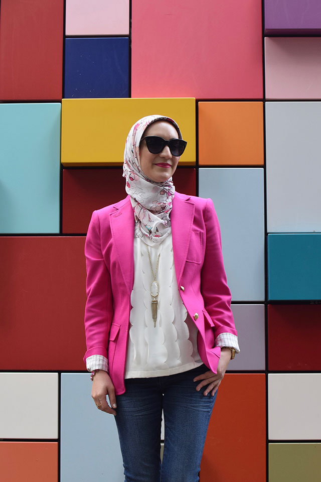 J. Crew Rhodes Blazer - J. Crew Toothpick Jeans - Pink Blazer - Kendra Scott Necklace - Houston - Art Box - Discovery Green Park - Haute Hijab Scarf - Modest Fashion - Fashion Blogger